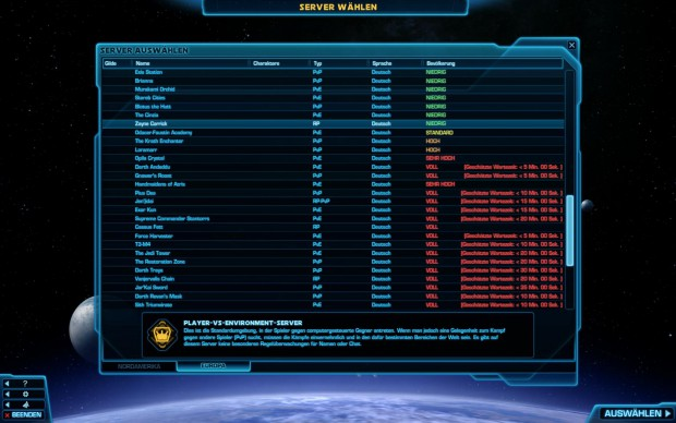 Deutsche Server von The Old Republic