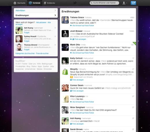 "Twitter-Relaunch ""Verbinde-Tab"" (Bild: Twitter)"