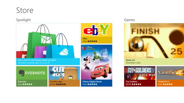 Startseite des Windows Store