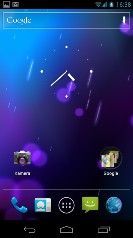 Der Startbildschirm von Android 4.0.1 auf dem Galaxy Nexus