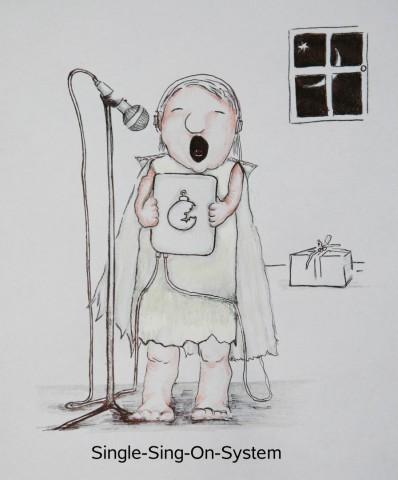 Wochenend und Sonnenschein - und was macht der Chef? Er schreibt eine Nachricht über Mozilla. Doch beim Redigieren wird klar: Er denkt dabei an Fröhliches, sing on statt sign on, mit dem Single-Sing-On-System. Und das in der Weihnachtszeit! Oje du fröhliche on and on and on and on... (Grafische Umsetzung: Das Graufeld)
