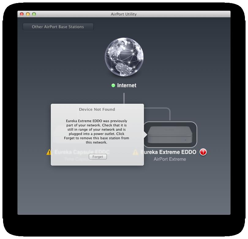 Airport Utility 6: Apple reduziert Funktionsumfang seiner Routersoftware - Fehlermeldung