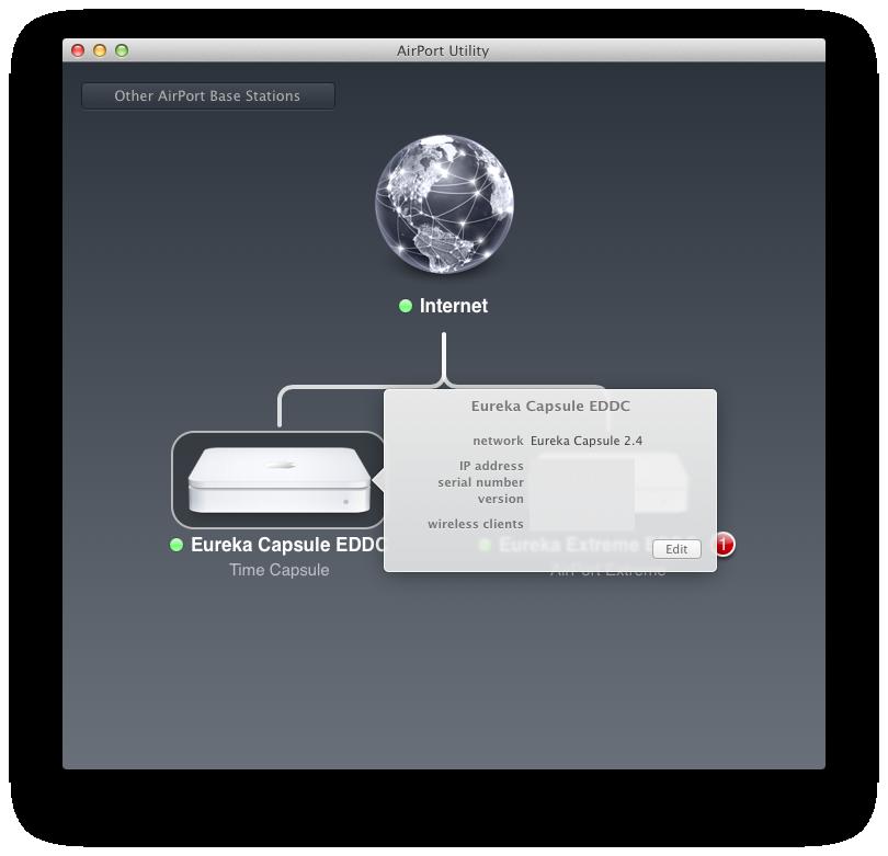 Airport Utility 6: Apple reduziert Funktionsumfang seiner Routersoftware - Mit einem Klick wird angezeigt, welche Clients per WLAN verbunden sind. Hierbei gibt es aber eine wilde Mischung aus Rechnernamen, IP-Adressen und MAC-Adressen.
