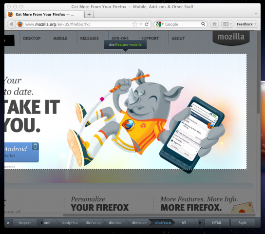 Firefox 10: Hervorhebung von HTML-Elementen durch den Page Inspector