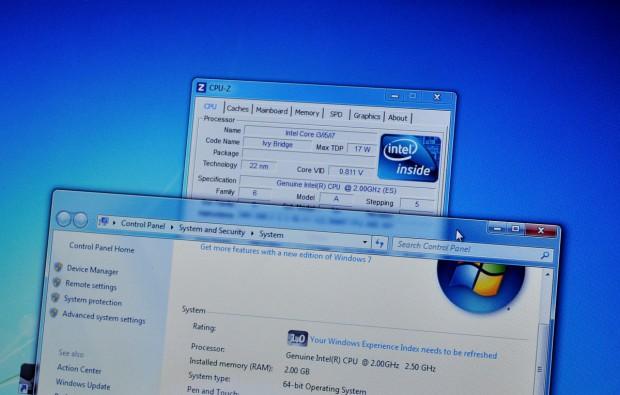 CPU-Z erkennt Ivy Bridge - vermutlich ein Core i7-3667U