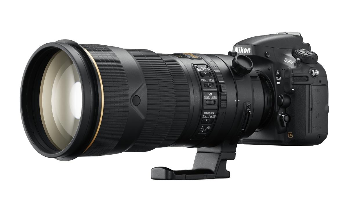 Vollformat-DSLR: Nikon D800 mit 36 Megapixeln und Videokomfort - D800 mit 300-Millimeter-Sportlinse (Bild: Nikon)