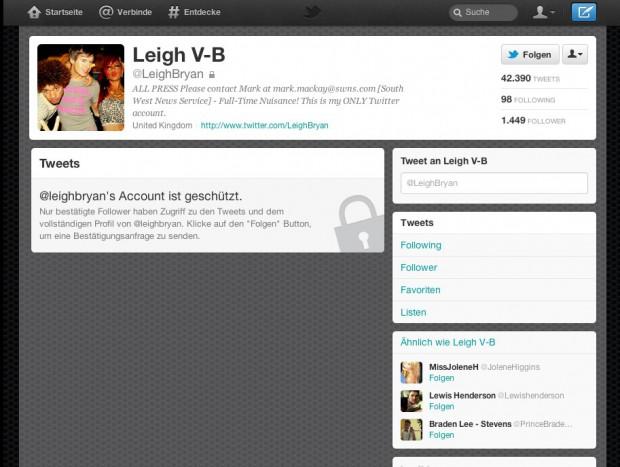 Zu viel behördliche, mediale und öffentliche Aufmerksamkeit: Die Twitter-Nachrichten von Leigh Van Bryan sind nun nicht mehr öffentlich (Screenshot: Golem.de)