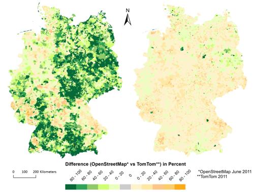 Openstreetmap vs. Teleatlas 2011: Gesamtvergleich links, Straßennetz für Auto-Navigation rechts