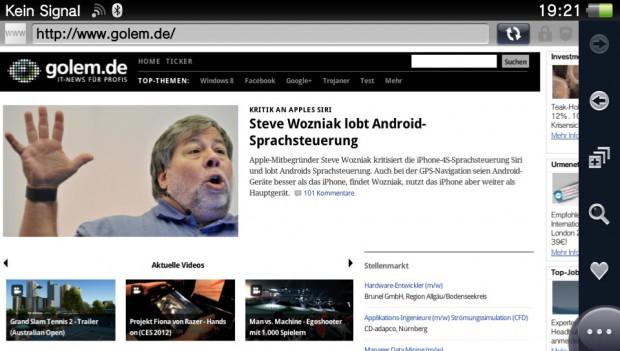 Golem.de auf dem Browser der Vita...