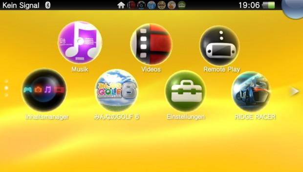 Das Hauptmenü der Vita erinnert an Android.