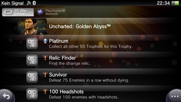 Die Erfolge, sowohl lokal auf dem Gerät als auch im Playstation Network