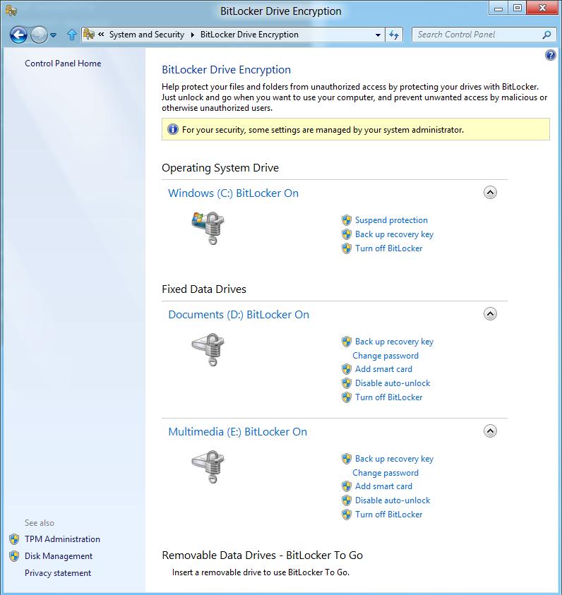 Windows 8: Storage Spaces gegen volle Festplatten - Bitlocker aktivieren