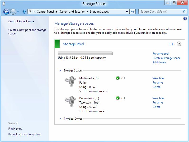 Windows 8: Storage Spaces gegen volle Festplatten - Storage Spaces mit aktiviertem Bitlocker