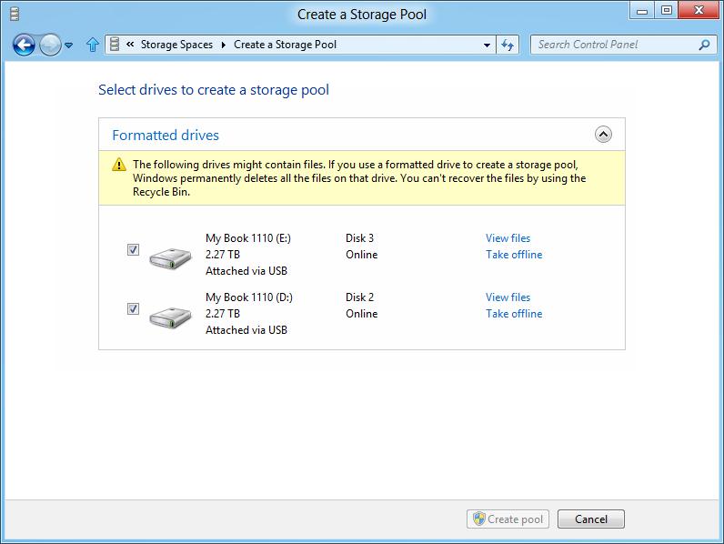 Windows 8: Storage Spaces gegen volle Festplatten - Storage Pool einrichten