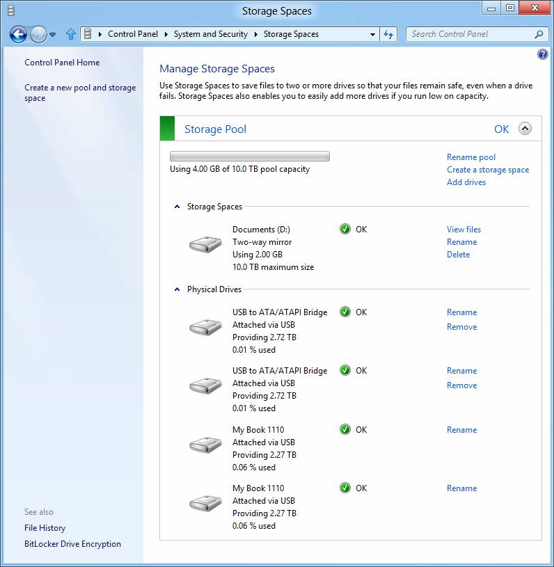 Windows 8: Storage Spaces gegen volle Festplatten -