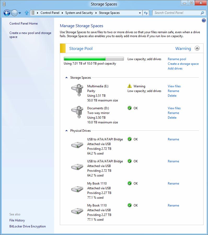 Windows 8: Storage Spaces gegen volle Festplatten - Warnung bei knappem Speicherplatz