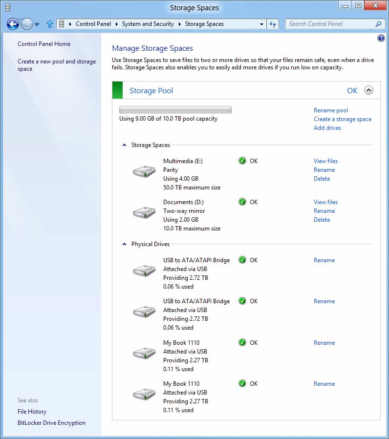 Windows 8: Storage Spaces gegen volle Festplatten - Einen Partity-Space einrichten