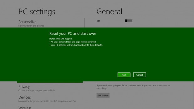 Reset eines PCs mit Windows 8
