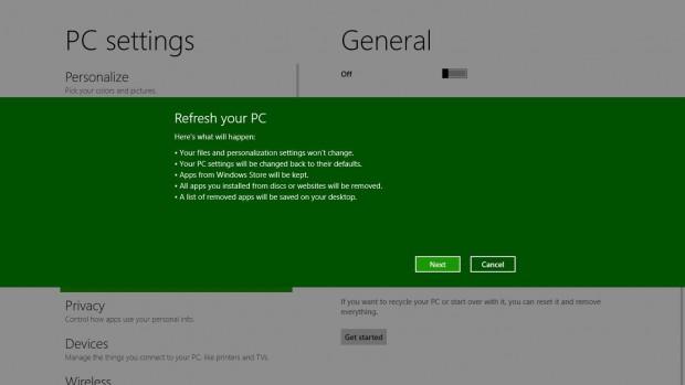 Refresh eines PCs mit Windows 8