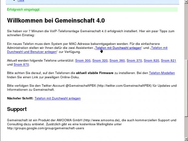Die Benutzeroberfläche des Verwaltungswerkzeugs von Gemeinschaft 4.0