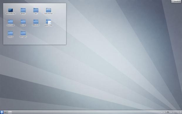 Der Standarddesktop von KDE SC 4.8 mit neuem Wallpaper Ariya
