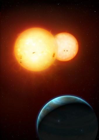 Exoplanet Kepler-35b mit Doppelstern (Bild: Mark A. Garlick)