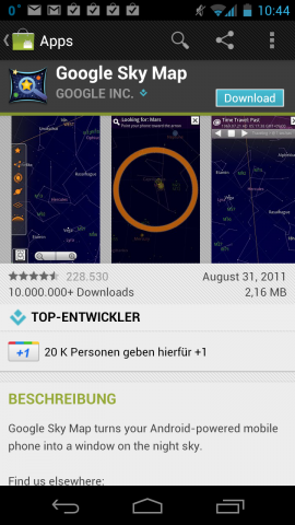 Die Android-App Sky Map