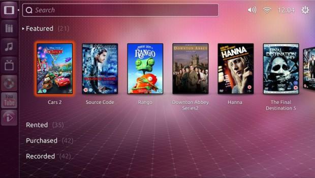 Die Benutzeroberfläche von Ubuntu TV