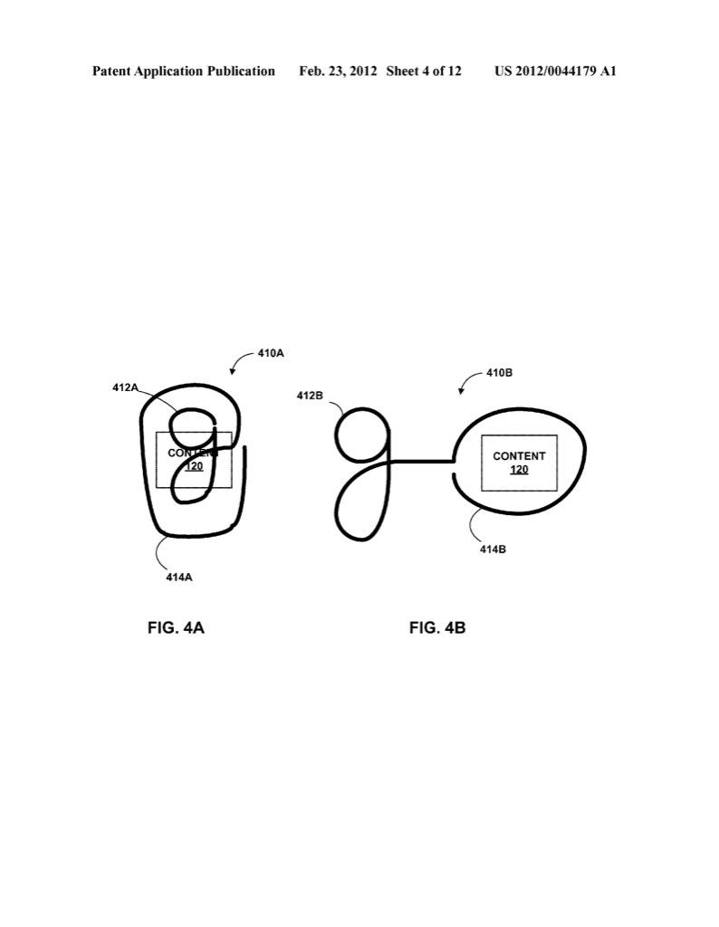Google: Mit Gesten auf Suche - Google will mit kontinuierlichen Gesten Befehle und Parameter  verbinden. (Bild: Google/US-Marken- und Patentamt)