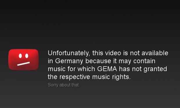 Die bekannte Gema-Sperrmeldung von Youtube - hier in der englischen Version