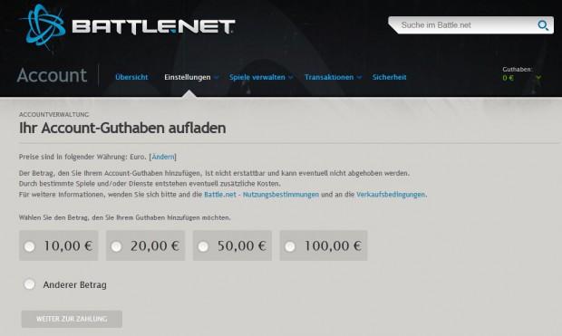 Einzahlung auf das Guthabenkonto des Battle.net