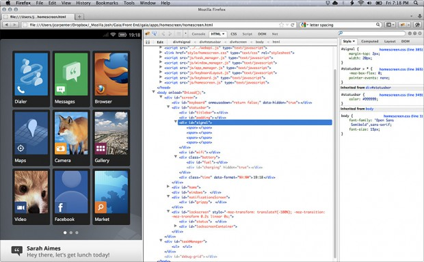 Gaia: Mozilla UI für Boot to Gecko ist komplett in HTML5, CSS und Javascript umgesetzt.