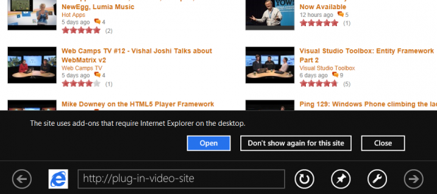 Internet Explorer 10 unterstützt PLugins nur in der Desktopversion.