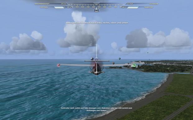 In der ersten Mission fliegt der Spieler am Ufer von Hawaii...
