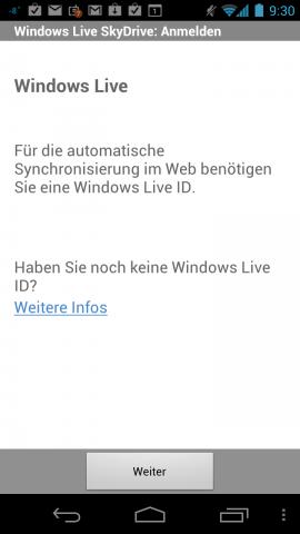 Onenote für Android synchronisiert über Skydrive. (Screenshots: Golem.de)