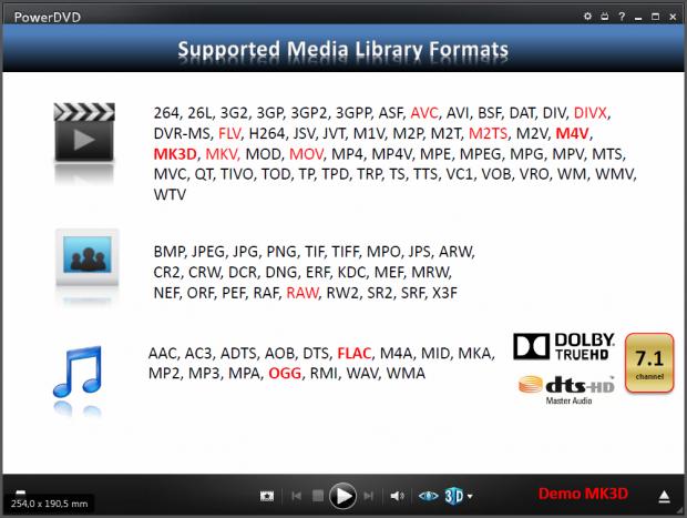 Die neu unterstützten Formate sind Rot markiert