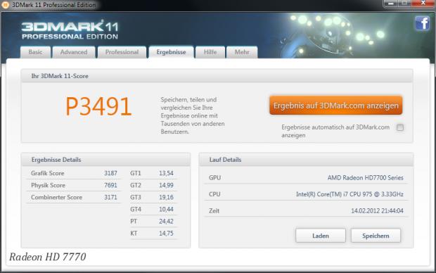 Die 7770 im Performance-Profil von 3DMark 11