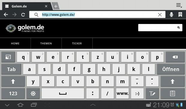 Die Samsung-Tastatur kann kein Multitouch.