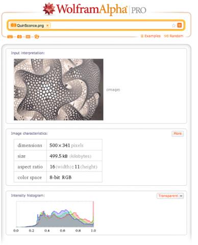 Wolfram Alpha Pro: Bildanalyse