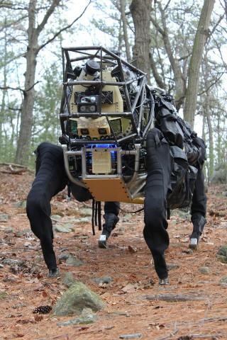 Der vierbeinige Roboter Alpha Dog marschiert durch das Gelände. (Foto: Darpa)