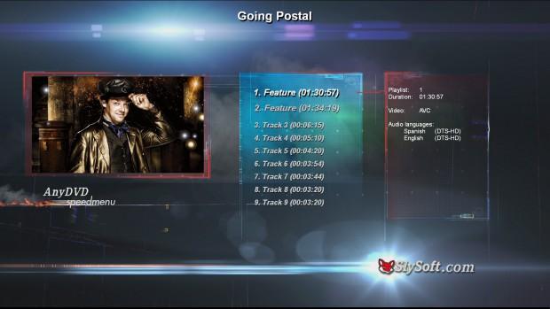 Die Speedmenu-Funktion von Slysofts AnyDVD 7.0.0.0 am Beispiel der Terry-Pratchett-Romanverfilmung Going Postal (Screenshot: Slysoft)