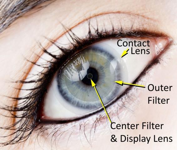 So soll die Kontaktlinse mit Display aussehen (Bild: Darpa)