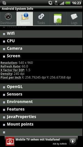 Bei einer Diagonalen von 4,5 Zoll hat der Bildschirm eine Auflösung von 540 x 960 Bildpunkten.
