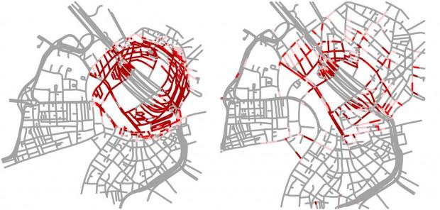 Mit dem neuen System kann der Nutzer verzerrungsfrei in eine Karte zoomen (r.). Zum Vergleich ein Zoom mit einer herkömmlichen Bildschirmlupe (l.) (Bild: Jan-Henrik Haunert)