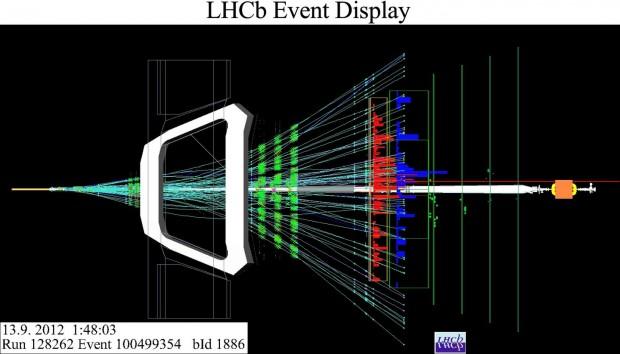 Kollision von Protonen mit Bleiionen, aufgenommen vom Experiment LHCb am 13. September 2012 (Bild: LHCb/Cern)