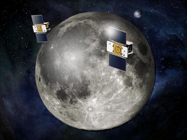 Die beiden Grail-Sonden Ebb und Flow umkreisen den Mond. (Bild: Nasa)