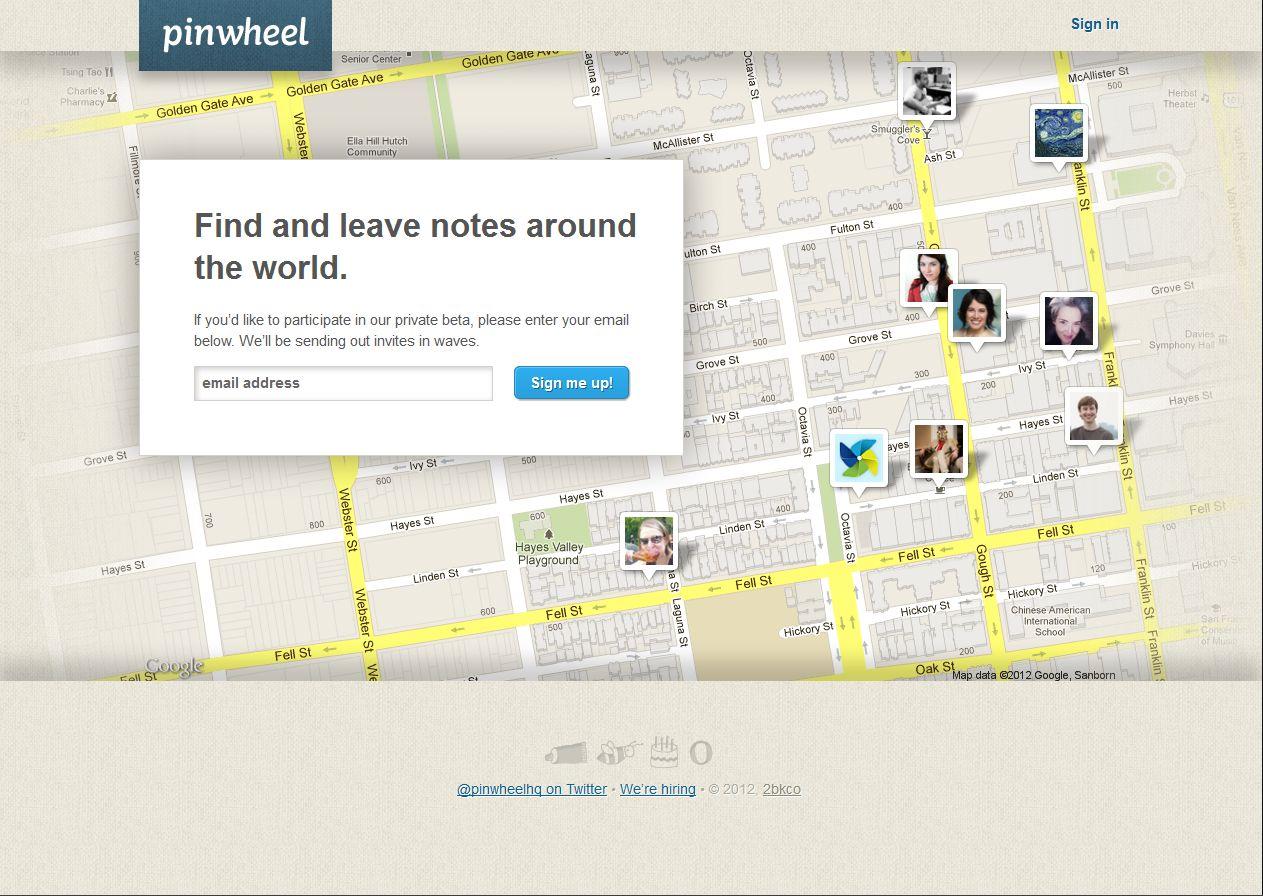 Pinwheel: Flickr-Gründerin startet neues Projekt - Startseite des Angebots (Pinwheel/Screenshot: Golem.de)