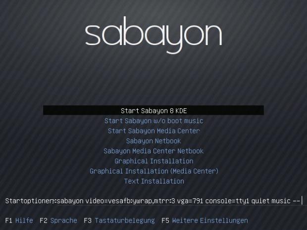 Der Startbildschirm von der Sabayon-DVD