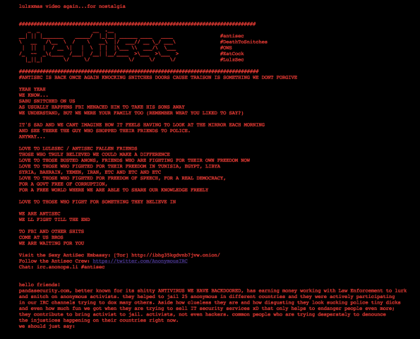 Anonymous antwortet auf Lulzsec-Festnahmen