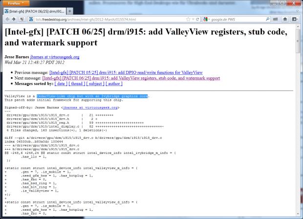 Kommentar eines Intel-Entwicklers zur Grafik (Screenshot und Hervorhebung: Golem.de)